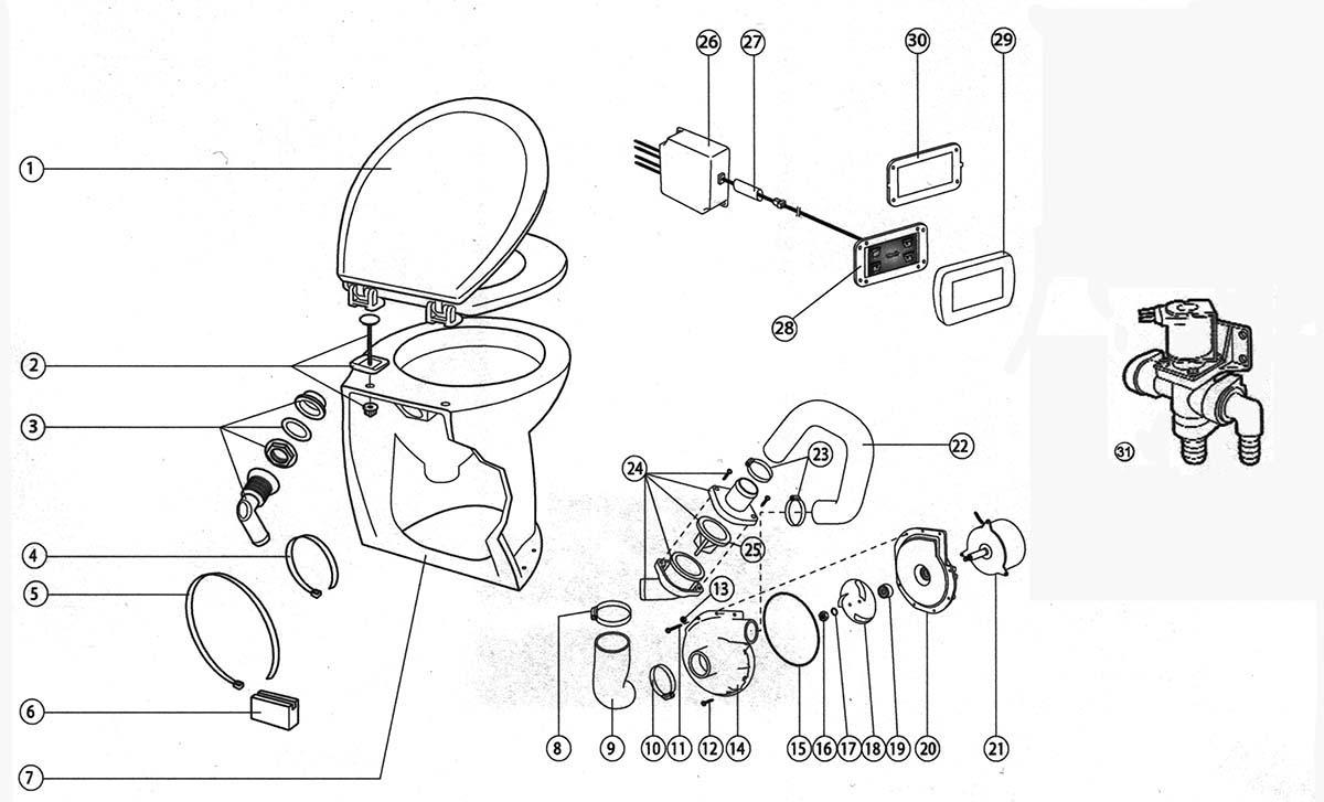 Jabsco 58020 1012 Deluxe Flush Electric Toilet Fresh