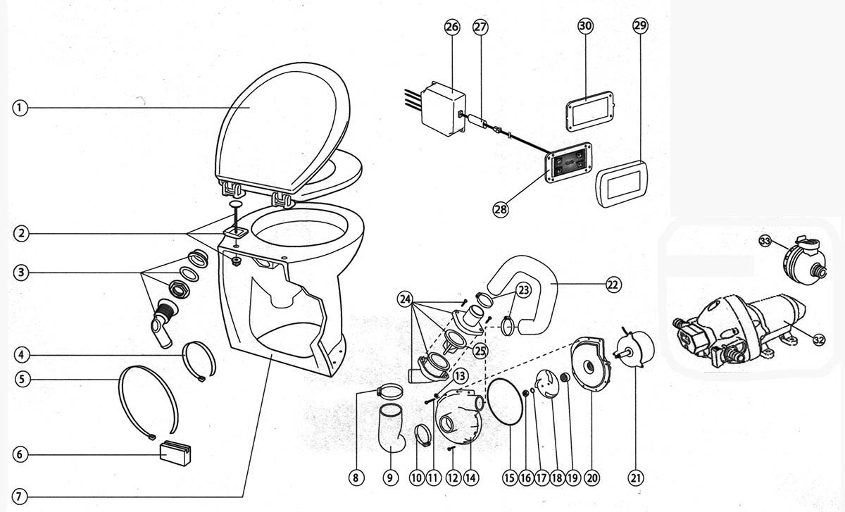 Jabsco 58260 1012 14 Deluxe Flush Electric Toilet Sea