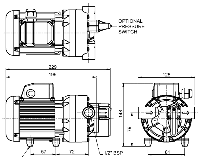 flojet 416955 multi chamber diaphragm pump 110v 1 50. Black Bedroom Furniture Sets. Home Design Ideas
